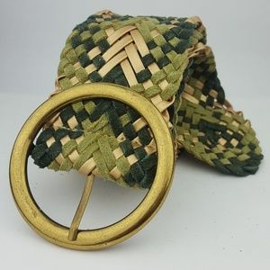 Accessories - Green & Gold Suede Leather Braided Woven Belt